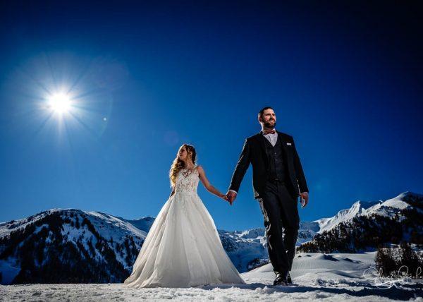 photos de mariage à la neige en montagne par olivier Fréchard
