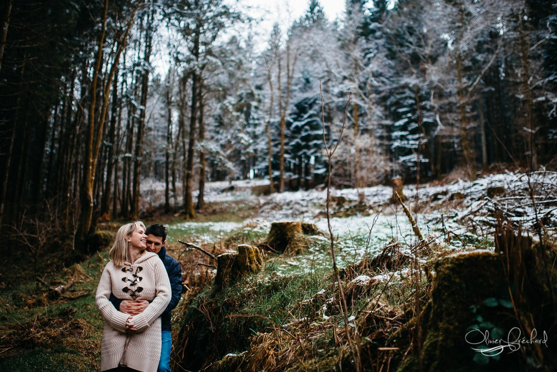 Photo de couple en foret en Alsace